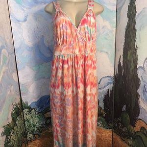 Faded Glory Coral Tie-Dye Print Tank Maxi Dress